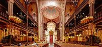 Foto panoramica a 360 della Grande Sinagoga di Dohany utcai, Budapest, Ungheria